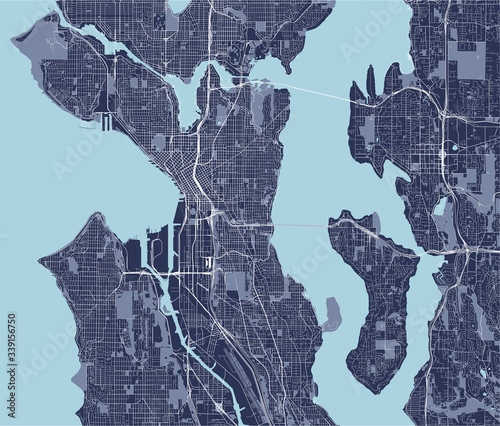 map of the city of Seattle, Washington, USA фототапет