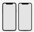Realistic vector illustration. Smartphones black and white colors with blank screens for your design. Mockup blank screen smartphone, isolated on transparent background