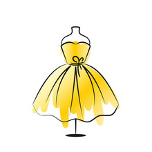 Elegant Yellow Dress On A Hanger. The Symbol Can Be Used As An Icon, Logo, Or Design Element. Vector Illustration Isolated On White Background.