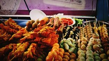 Close-up Of Fresh Food Skewers At Street Market Stall