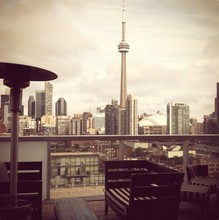 Cn Tower And Modern Buildings Seen From Balcony Of Thompson Hotels