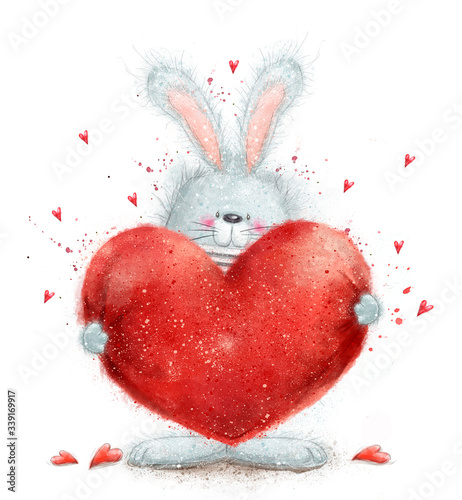 Photo Cute Rabbit  in love holding big red heart