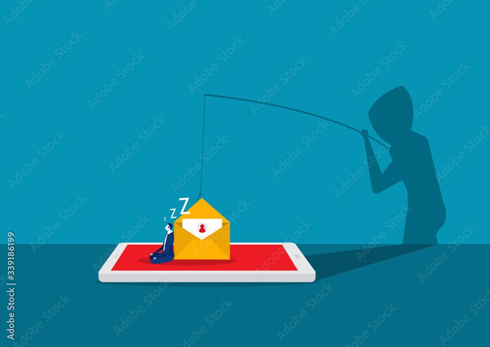 Fototapeta hacker attack on smartphone vector illustration. attack hacker to data, phishing and hacking crime