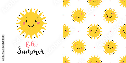 Yellow Cute Suns Vector Seamless Pattern And T Shirt Print Design For Kids Fashion With Little Sun Scandinavian Poster And Wallpaper For Birthday Baby Shower Or Nursery Design Buy This Stock Vector