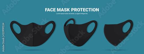Photo black antiviral medical respiratory face masks coronavirus protection prevention