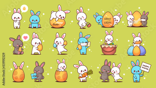 set cute rabbits happy easter bunnies stickers collection spring holiday concept horizontal vector illustration