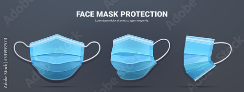 Stampa su Tela blue antiviral medical face mask protection against coronavirus prevention of vi
