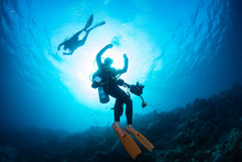 The Scuba Diver Doing Safety S...