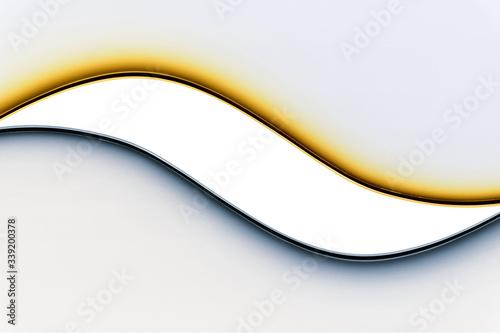 Photo Onde di luci led colorate di giallo e azzurro, riflesse sul muro, con area centr