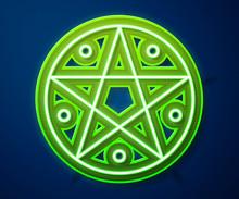 Glowing Neon Line Pentagram In...