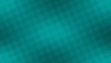 Teal Green Pop Art Background In Retro Comic Style With Halftone Dots Design, Vector Illustration Eps10.