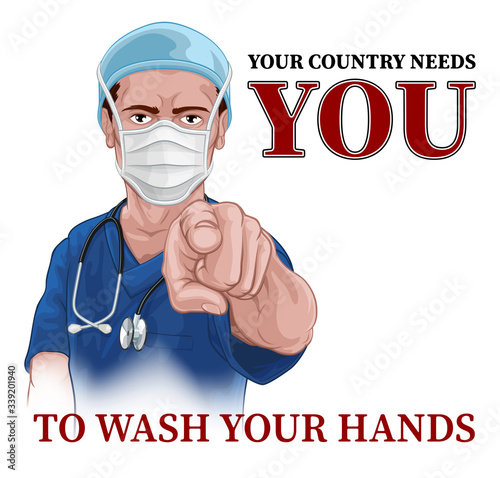 Fotografía A nurse or doctor in surgical or hospital scrubs and mask pointing in a your country needs or wants you gesture