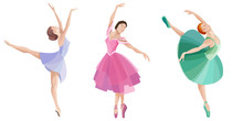 Set Of Dancing Ballerinas. Bea...