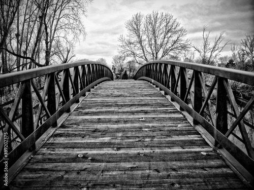 Footbridge Over River Canvas Print