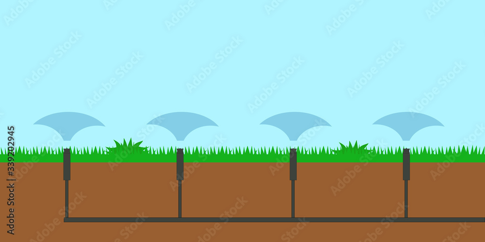 Fototapeta Sprinkler system for automatic watering and irrigation of lawns flower beds plants flowers scheme circuit outline. layout drawing vector