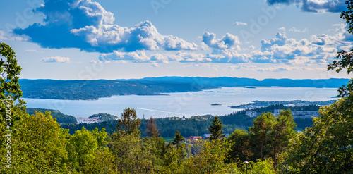 Oslo, Norway - Panoramic view of metropolitan Oslo and Oslofjorden sea bays and Wallpaper Mural