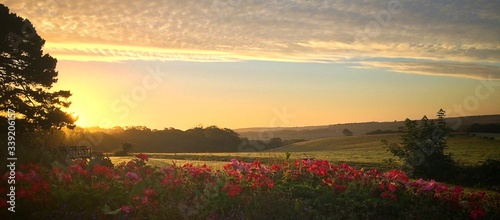 Scenic View Of Landscape Against Sky During Sunrise - fototapety na wymiar