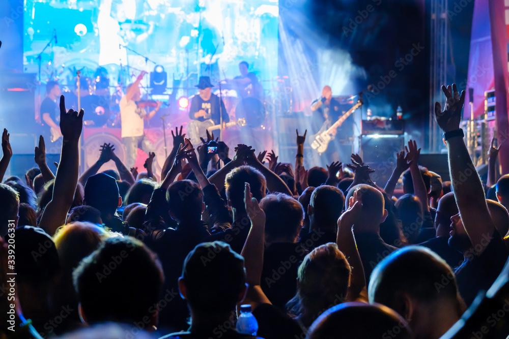 Fototapeta Fans at live rock music concert cheering