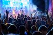 Leinwanddruck Bild - Fans at live rock music concert cheering