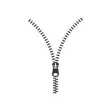 Open Zipper Black Isolated Vector Illustration. Zipper Glyph Icon.
