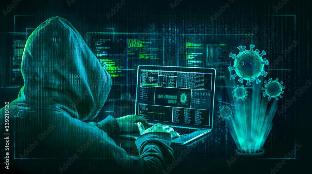 Fototapeta hacking during coronavirus quarantine concept