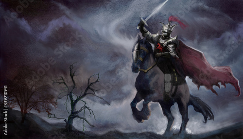 Fotografiet fantasy knight with sword on dark horse against stormy background