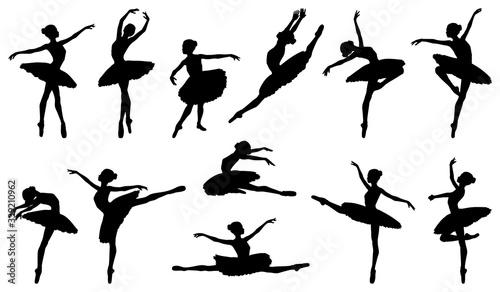 Ballerina dancer silhouette ballet dancing poses Fototapet