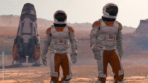 Canvas Print Astronaut Wearing Space Suit Walking On The Surface Of Mars