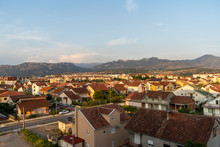 The View Of Podgorica, The Capital City Of Montenegro During The Sunset Time. August 2019