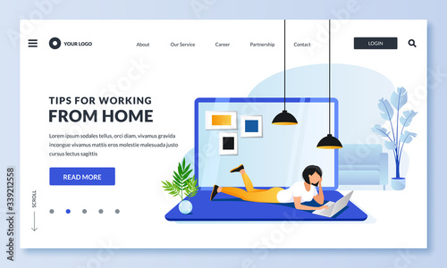 Obraz Work or education at home. Woman lying on floor uses laptop. Vector illustration. Remote work or e-learning concept - fototapety do salonu