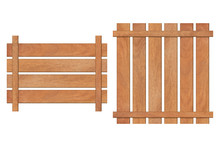 Set Of Brown Wooden Fence Isol...