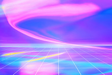 Abstract Trendy Rainbow Colored Blurred Holographic Background With Perspective Grid. Surreal Cyber Space Scene With Copy Space.