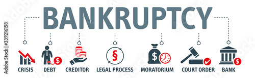 Fotografía Bankruptcy Concept - vector icons on white background