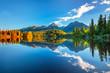 Summer scenic view on High Tatras mountains - National park and Strbske pleso (Strbske lake) mountain lake in Slovakia