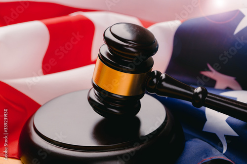 law gavel and USA america flag - American crime concept Canvas Print
