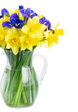 Bouquet Of Daffodil And Iris Flowers