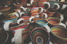 Full Frame Shot Of Colorful Cups Stacks At Store