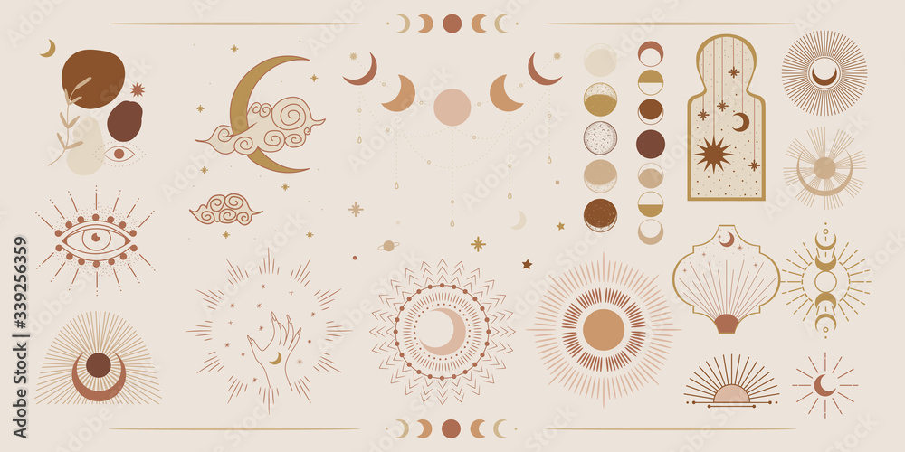 Minimalism in pastel colors. abstraction style. phases of the moon and the sun. mystical elements for your design. fashion and trend. Vector graphics