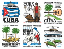 Cuba Travel Vector Icons. Havana Historic Culture Landmarks, Cuban Sightseeing, Caribbean Sea Boat Tours And Summer Beach Resorts. Palm And Guitar, Flag And Flower, Turtle And Birds