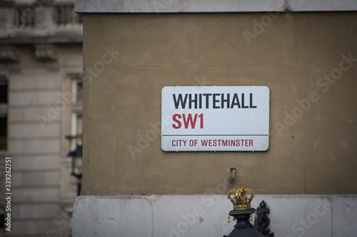 LONDON- Whitehall street sign in SW1 City of Westminster, location of many Briti Wallpaper Mural