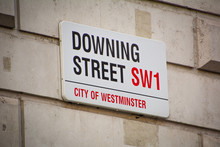 London- Downing Street Street Sign - Location Of 10 Downing Street, The Headquarters Of The British Government