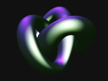 3D Metallic Knot Isolated On B...