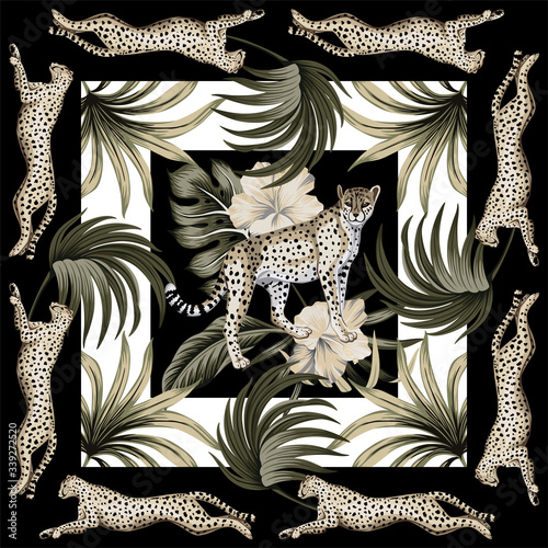 Photo Vintage palm leaves floral, hibiscus flower, cheetah running, leopard animal geometric pattern white background