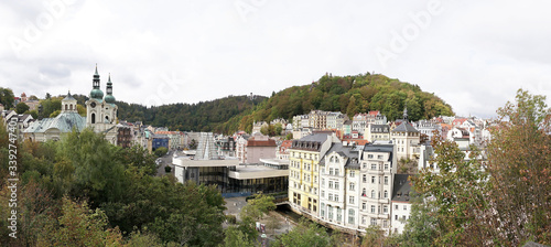 Panorama of the old town of Karlovy Vary in the Czech Republic Canvas Print