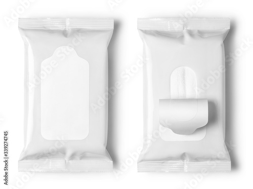 Fotomural Set of white wet wipes flow packs, isolated on white background