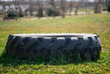 Closeup Of A Tire On A Field W...