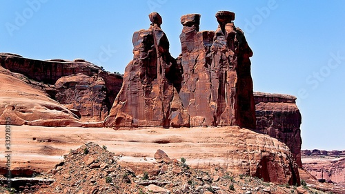 Fotografija Rock Formations In Arches National Park Against Clear Blue Sky