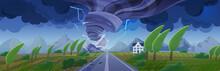 Storm With Tornado Flat Cartoo...