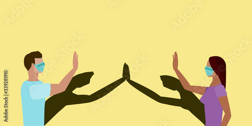 Photographie Social distancing greeting concept vector where two people high five at a distan