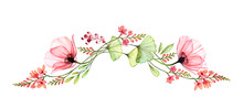 Watercolor Floral Border. Long...